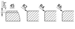 Разрезы фасада Кастом (прямая фаска, радиус 2, 4, 6 мм)